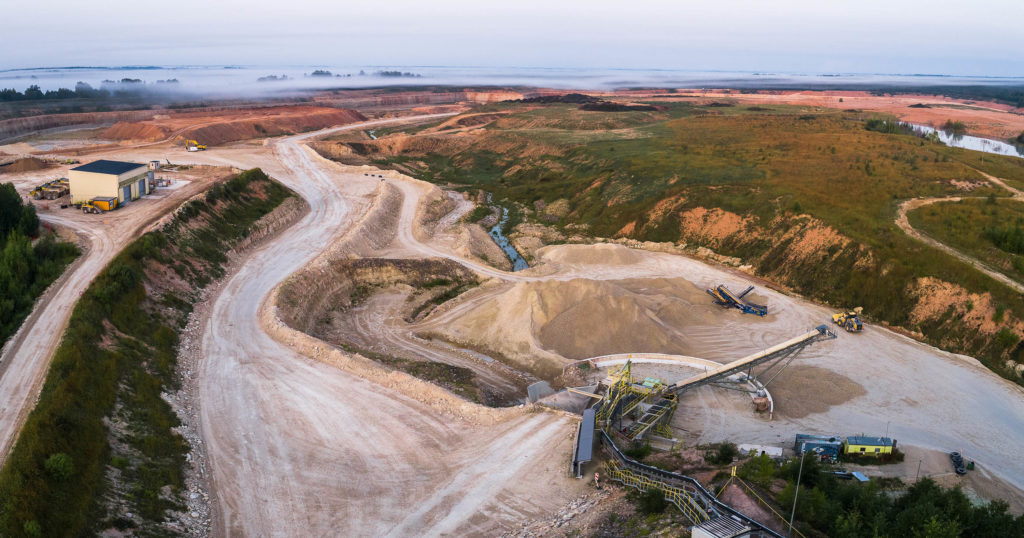 limestone quarry landscape from birds-view