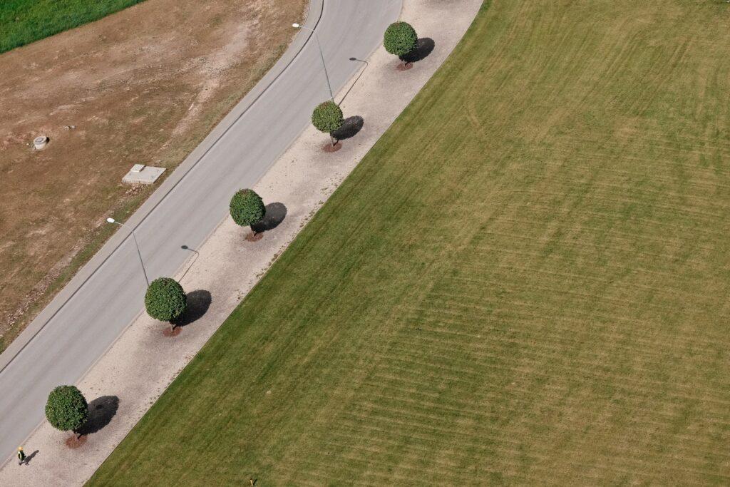 SCHWENK Latvija rūpnīca Brocēnos, ceļš uz biroju no putna lidojuma